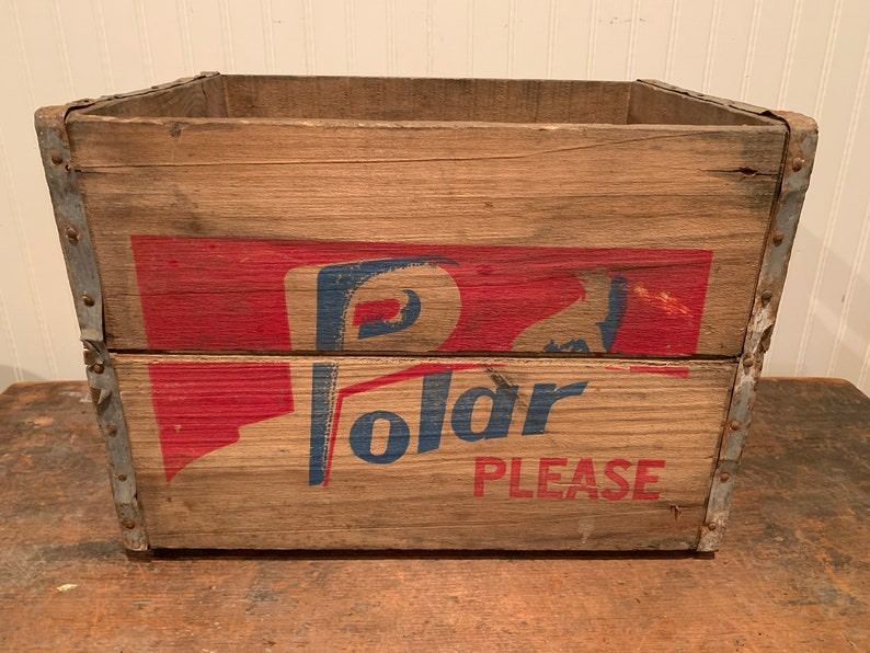 Vintage Wooden Crate Wood Crate Polar Beverage Crate Box Wood Crate Wooden Polar Beverage Crate Worcester Massachusetts Worcester Ma Ad 101