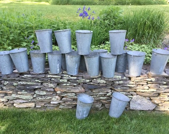 Ten Vintage Sap Buckets Sap Buckets Vermont Galvanized Sap Buckets Planter Galvanized Bucket Maple Sap Bucket Farmhouse Wedding Display