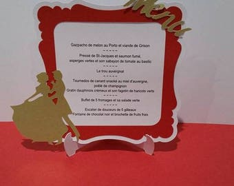 Set of 5 wedding Menus for elegant wedding with bride and groom - red, white and gold / gold