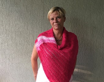pink Poncho, cover up, loose knitted