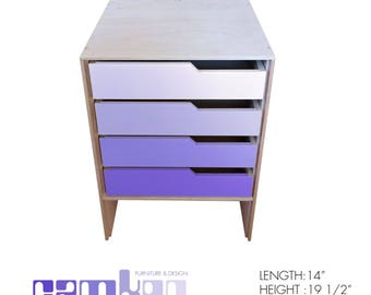 Gradient Purple Mid Century Modern End Table / Night Stand / Mini Dresser