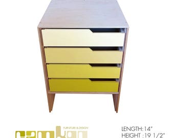 Gradient Yellow Mid Century Modern End Table / Night Stand / Mini Dresser