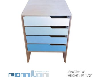 Blue Mid Century Modern End Table / Night Stand / Mini Dresser