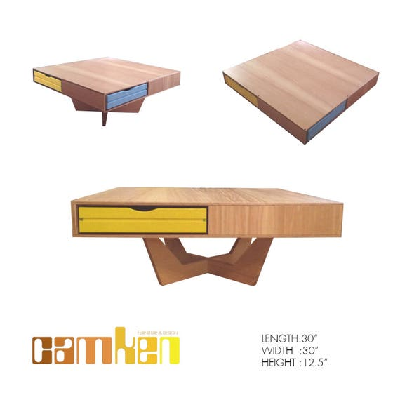 Colorful Modern Coffee Table: Mid Century Modern Floating Coffee Table W/ Color Drawers