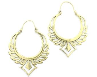 Rising Phoenix Earrings, Ornate Ethnic Earrings, Tribal Brass Earrings, Festival Earrings, Gypsy Earrings, Hoop Earrings