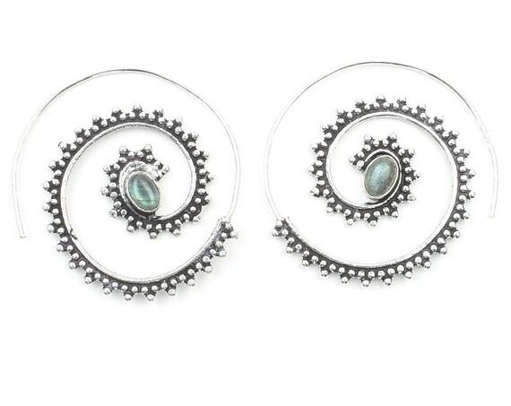 Tegal Labradorite Earrings, Labradorite Spirals, Gemstone Jewelry, Festival Earrings, Gypsy Earrings, Ethnic Earrings
