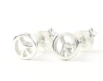 Sterling Silver Peace Sign Earrings, Peace Stud Earrings, Hippie, Boho, Bohemian, Gypsy, Festival Jewelry
