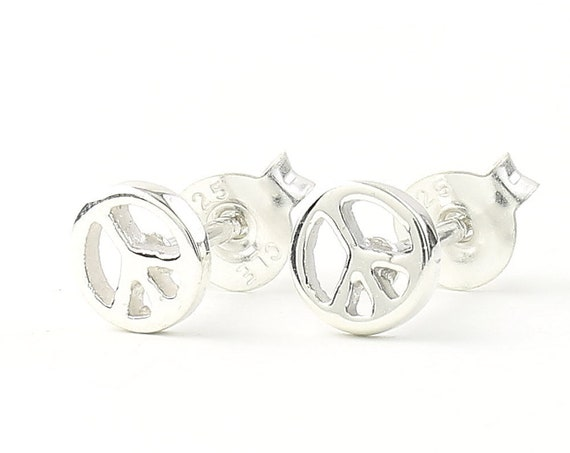 Sterling Silver Peace Sign Earrings, Peace Stud Earrings, Hippie, Boho, Bohemian, Gypsy, Festival Jewelry