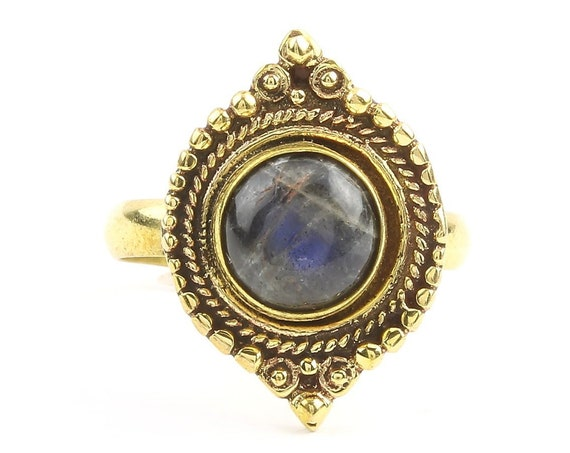 Kala Ring, Labradorite Mandala Ring, Brass, Yoga Jewelry, Tribal, Ethnic Ring, Gypsy, Hippie Jewelry, Festival Jewelry, Boho