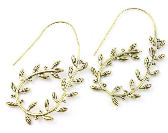 Weeping Willow Earrings, Brass, Leaves, Tree of life, Boho, Bohemian, Tribal, Nature, Festival Jewelry, Gypsy Earrings, Ethnic, Hippie