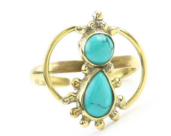 Kholm Ring, Brass Turquoise Ring, Yoga Jewelry, Tribal, Ethnic Ring, Gypsy, Hippie Jewelry, Festival Jewelry, Boho