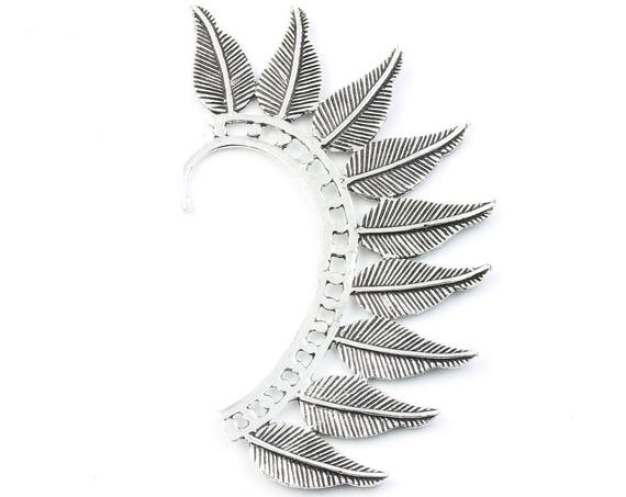 Wild Feather Ear Wrap, Silver Ear Cuff, Boho Jewelry, Tribal Ear Jewelry,  Festival Jewelry, Gypsy, Ethnic, Hippie Jewelry
