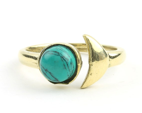Turquoise Moon Ring, Brass Ring, Yoga Jewelry, Tribal, Ethnic Ring, Gypsy, Hippie Jewelry, Festival Jewelry, Boho