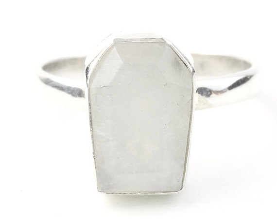 Moonstone Coffin Ring, Sterling Silver Moonstone Ring, Stone Jewelry, Gemstone, Crystals, Boho, Gypsy, Hippie Jewelry,