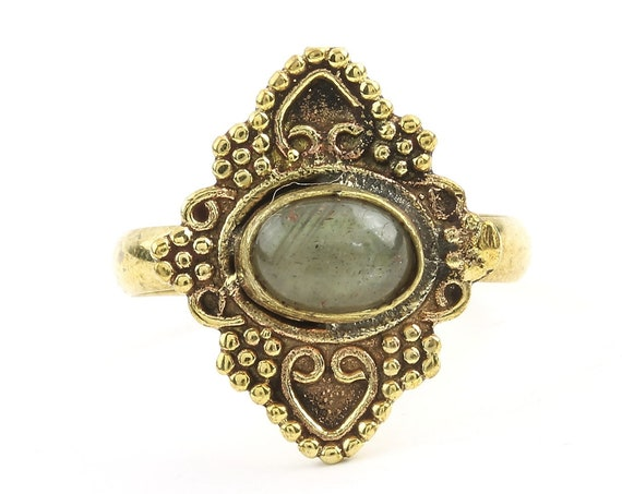 Musa Ring, Labradorite Mandala Ring, Brass, Yoga Jewelry, Tribal, Ethnic Ring, Gypsy, Hippie Jewelry, Festival Jewelry, Boho