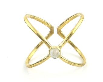 Moonstone X Ring, Brass X Ring, Minimal, Modern, Bohemian, Boho, Gypsy, Festival, Yoga Jewelry, Statement Piece