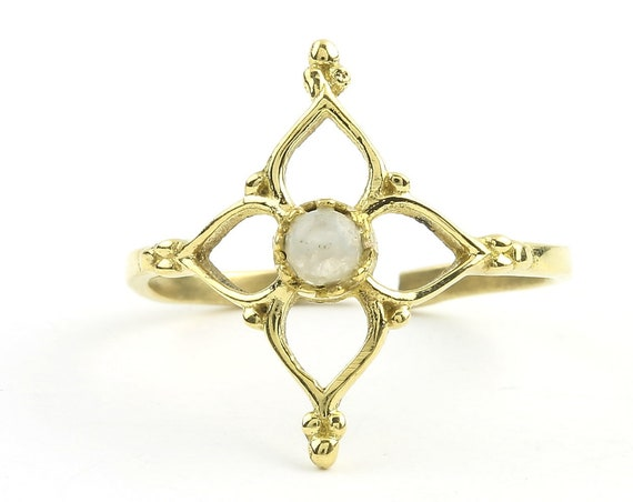 Moonstone Flower Ring, Brass Moonstone Ring, Yoga Jewelry, Tribal, Ethnic Ring, Gypsy, Hippie Jewelry, Festival Jewelry, Boho