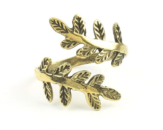 Brass Floral Ring, Vine, Leaves, Feather, Yoga Jewelry, Tribal, Ethnic Ring, Gypsy, Hippie Jewelry, Festival Jewelry, Boho, Minimal