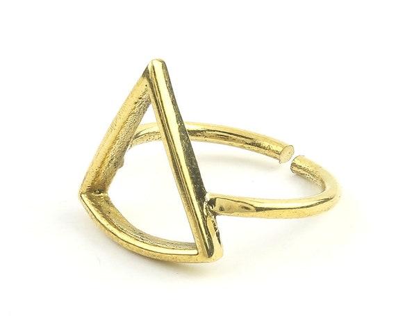 Triangle Ring, Brass Triangle Ring, Minimal, Modern, Bohemian, Boho, Gypsy, Festival, Yoga Jewelry, Statement Piece