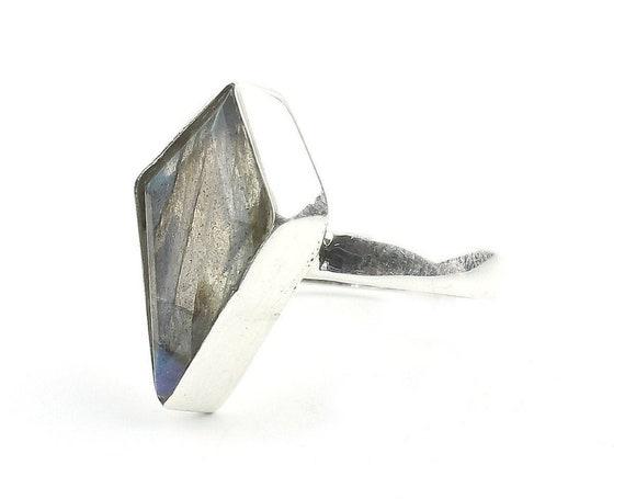 Labradorite Coffin Ring, Sterling Silver Labradorite Ring, Gemstone, Festival Jewelry, Boho, Wiccan, Gypsy, Hippie, Spiritual