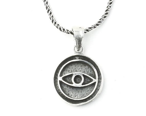 Eye Sterling Silver Necklace, Evil Eye Jewelry, Minimal, Spiritual, Boho, Gypsy, Festival Jewelry