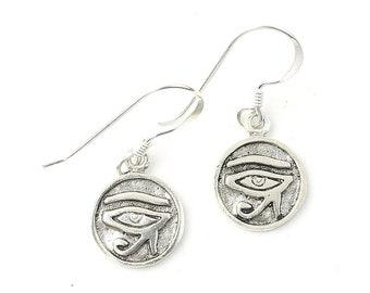 Sterling Silver Eye of Rah Earrings, Eye of Horus, Egyptian, Boho, Bohemian, Gypsy, Festival Jewelry