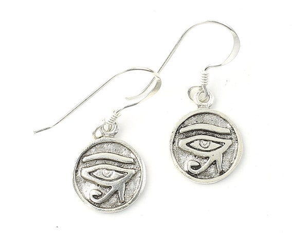 Sterling Silver Eye of Rah Earrings, Eye of Horus, Egyptian, Boho, Bohemian, Gypsy, Festival Jewelry