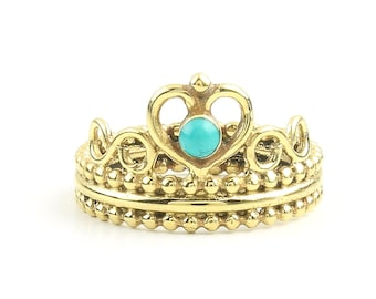 Turquoise Crown Ring, Brass Turquoise Ring, Yoga Jewelry, Tribal, Ethnic Ring, Gypsy, Hippie Jewelry, Festival Jewelry, Boho