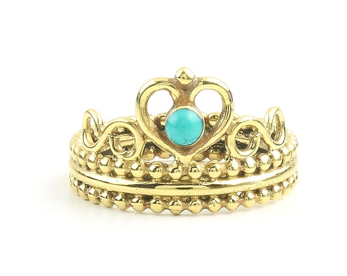 Featured listing image: Turquoise Crown Ring, Brass Turquoise Ring, Yoga Jewelry, Tribal, Ethnic Ring, Gypsy, Hippie Jewelry, Festival Jewelry, Boho
