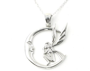 Sterling Silver Fairy Necklace, Crescent Moon Necklace, Moon Jewelry, Wicca, Spiritual, Boho, Gypsy, Festival Jewelry