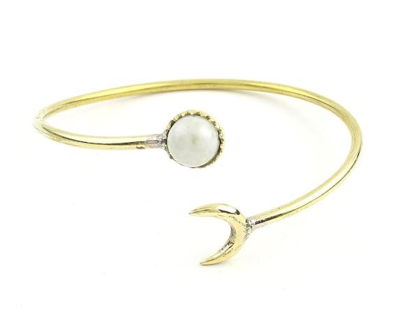 Moonstruck Brass Bracelet, Moonstone Moon Bracelet, Stone Bangle, Arm Cuff, Boho, Bohemian, Gypsy, Festival Jewelry, Minimal
