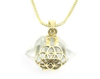 Seed Of Life Crystal Necklace, Sacred Geometry Brass Quartz Crystal Necklace, Festival Jewelry, Spiritual, Yoga, Meditation, Boho, Gypsy