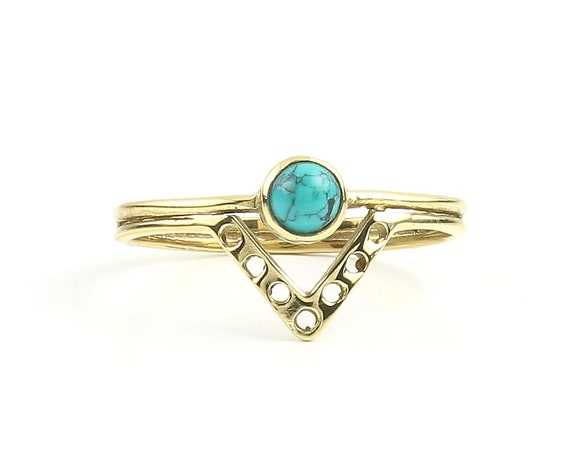Kerala Ring, Brass Turquoise Ring, Triangle, V Ring, Yoga Jewelry, Tribal, Ethnic Ring, Gypsy, Hippie Jewelry, Festival Jewelry, Boho