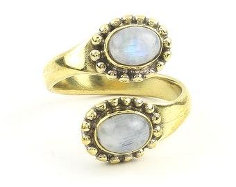 Imam Ring, Brass Moonstone Ring, Yoga Jewelry, Tribal, Ethnic Ring, Gypsy, Hippie Jewelry, Festival Jewelry, Boho