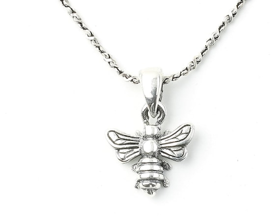 Honey Bee Sterling Silver Necklace, Bee Jewelry, Minimal, Spiritual, Boho, Gypsy, Festival Jewelry