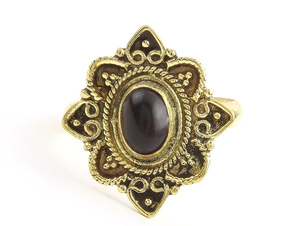 Zinda Ring, Black Onyx Mandala Ring, Brass, Yoga Jewelry, Tribal, Ethnic Ring, Gypsy, Hippie Jewelry, Festival Jewelry, Boho
