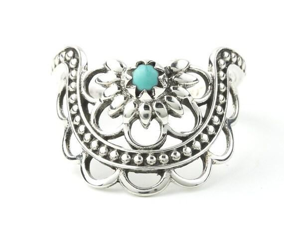 Turquoise Mandala Ring, Sterling Silver Turquoise Ring, Stone Jewelry, Gemstone, Southwestern, Boho, Gypsy, Ethnic, Hippie, Spiritual