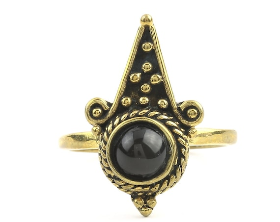 Shina Ring, Black Onyx Mandala Ring, Brass, Yoga Jewelry, Tribal, Ethnic Ring, Gypsy, Hippie Jewelry, Festival Jewelry, Boho