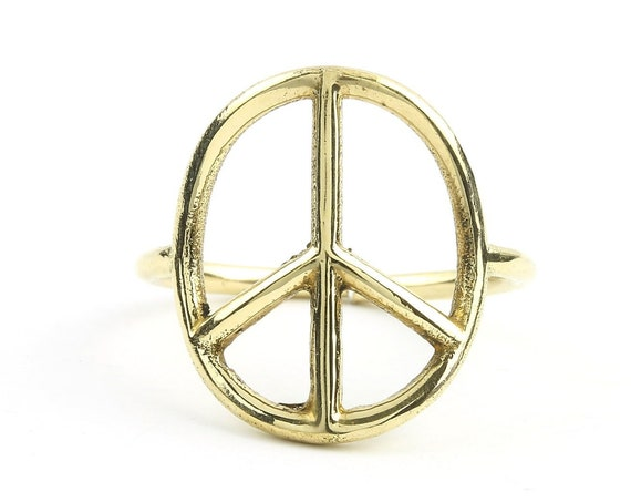 Brass Peace Ring, Peace Sign, Festival Ring, Yoga Jewelry, Tribal, Ethnic Ring, Gypsy, Hippie Jewelry, Festival Jewelry, Boho