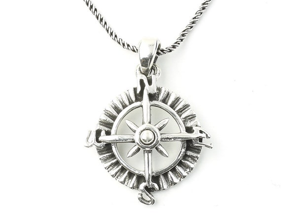 Sterling Silver Compass Necklace, Nautical Jewelry, Ocean, Sea, Boho, Gypsy, Festival Jewelry