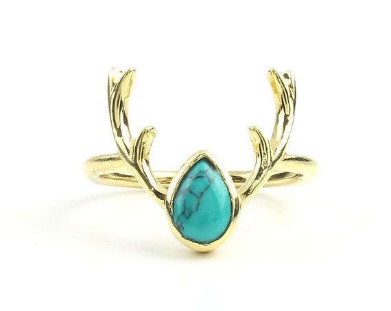 Antler Turquoise Ring, Brass Ring, Animal Horns, Animal Skull, Tribal, Ethnic Ring, Gypsy, Hippie Jewelry, Festival Jewelry, Boho