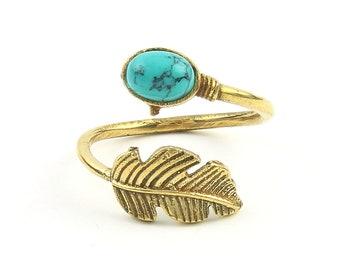Turquoise Feather Ring, Brass, Stone Jewelry, Cosmic, Gemstone, Boho, Gypsy, Wiccan, Hippie, Spiritual