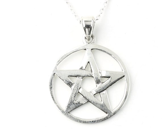 Sterling Silver Pentacle Necklace, Pentagram Jewelry, Wicca, Spiritual, Boho, Gypsy, Festival Jewelry
