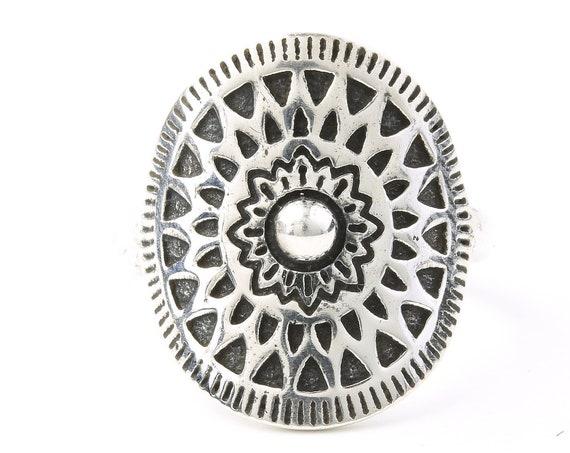 Sterling Silver Sun Mandala Ring, Flower, Cosmic, Boho, Bohemian, Gypsy, Festival Jewelry