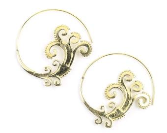 Ankara Earrings, Spiral Brass Earrings, Swirl Earrings, Wave, Tribal Earrings, Festival Jewelry, Gypsy Earrings, Ethnic, Yoga
