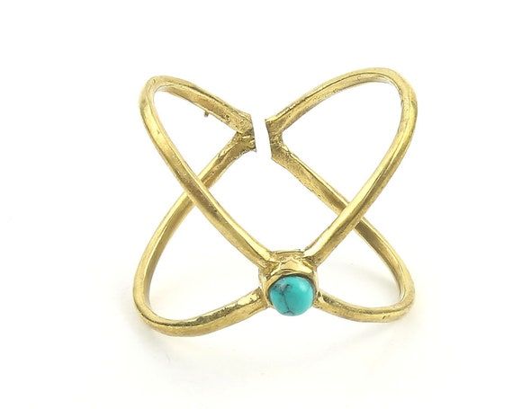 Turquoise X Ring, Brass X Ring, Minimal, Modern, Bohemian, Boho, Gypsy, Festival, Yoga Jewelry, Statement Piece