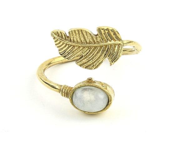 Moonstone Feather Ring, Brass, Stone Jewelry, Cosmic, Gemstone, Boho, Gypsy, Wiccan, Hippie, Spiritual