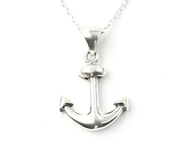 Sterling Silver Anchor Necklace, Nautical Jewelry, Minimal, Ocean, Sea, Boho, Gypsy, Festival Jewelry