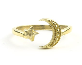Star and Moon Ring, Brass Ring, Festival Ring, Yoga Jewelry, Tribal, Ethnic Ring, Gypsy, Hippie Jewelry, Festival Jewelry, Boho