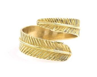 Brass Feather Ring, Festival Ring, Yoga Jewelry, Tribal, Ethnic Ring, Gypsy, Hippie Jewelry, Festival Jewelry, Boho